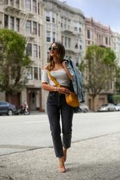 jeans,black jeans,high heel sandals,crossbody bag,off the shoulder top,denim jacket,sunglasses