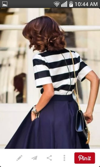 dress skirt navy blue skirt tea-length skirt navy circle skirt stripes shoes vintage vibe fashion bag cute outfit fashion week streetwear streetstyle womens streetwear new york city blue skirt striped top