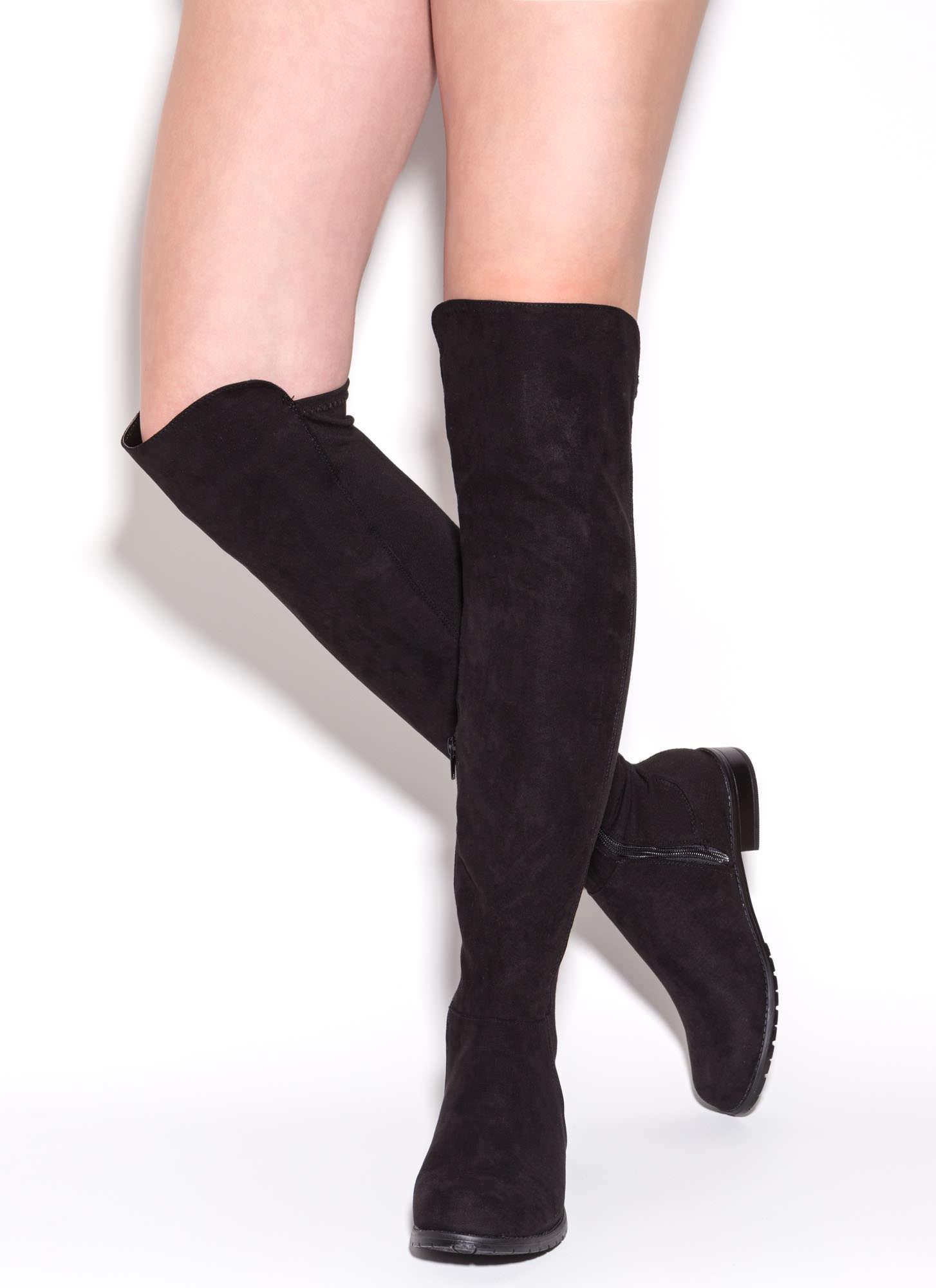 Stems Faux Suede Boots BLACK - GoJane.com