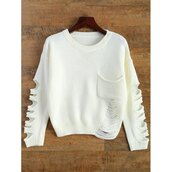 sweater,white,ripped,long sleeves,winter outfits,winter sweater,cool,casual,trendsgal.com