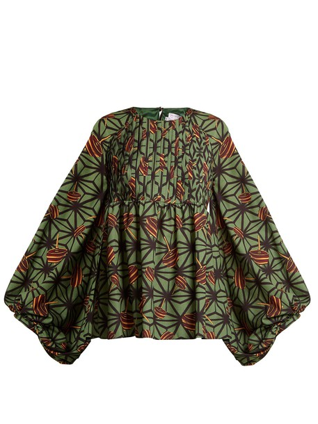 STELLA JEAN blouse geometric print green top