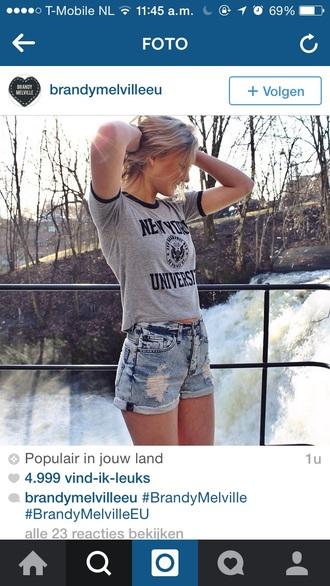 t-shirt cute top grey shirt new york nyc girl pretty clothes shorts