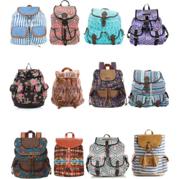 c03f51bab0 bag aztec stripes floral cute weheartit clothes backpack bookbag girly