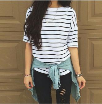 t-shirt flannel shirt striped sweater black skinny jeans shirt rayures