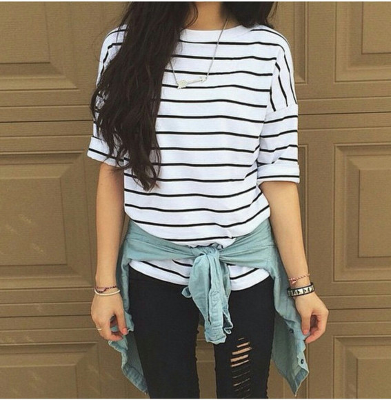 flannel shirt t-shirt striped sweater black skinny jeans