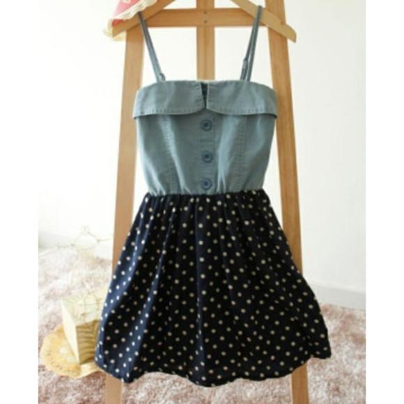 denim dress navy blue skirt white polka dot