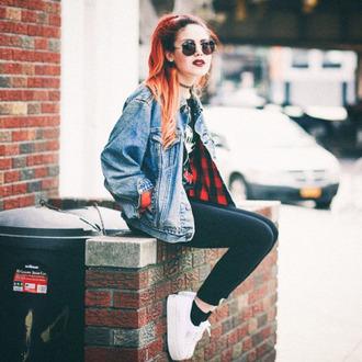 jacket grunge le happy luanna perez 90s jacket denim jacket sunglasses