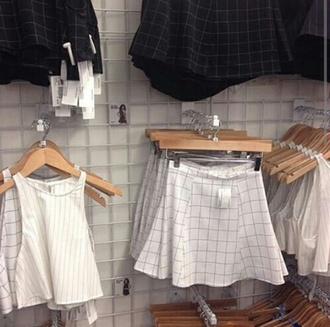 skirt jupe cute skirts square plaid skirt top plaid tops