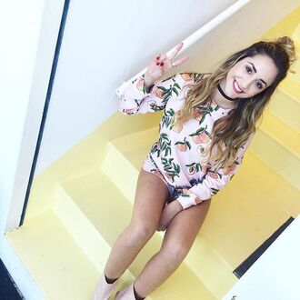 blouse yeah bunny sweathirt kiss hello peach paste fruits summer sun