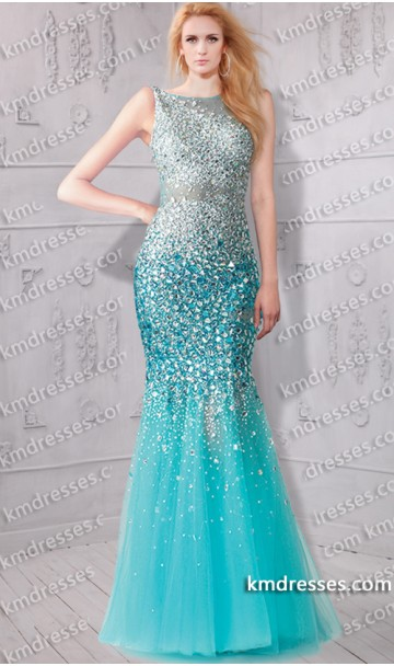 dramatic scooped back sheer illusion All-over beaded mermaid gown