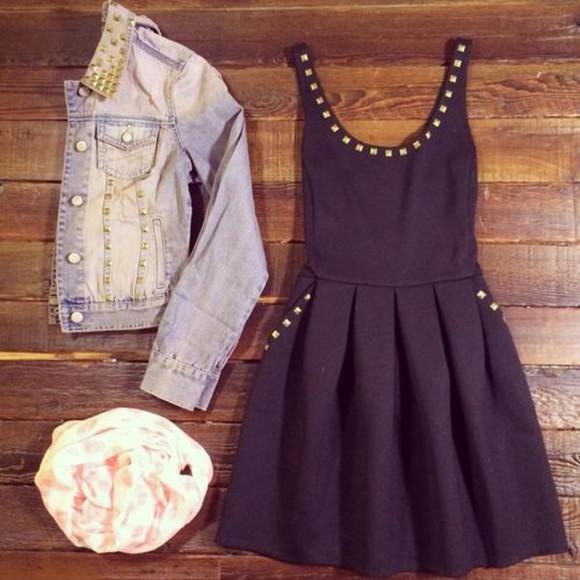 little black dress summer dress denim jacket nieten skater dress studs