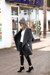 brooklyn blonde,blogger,grey coat,charcoal,winter outfits,coat,sweater,jeans,hat,shoes