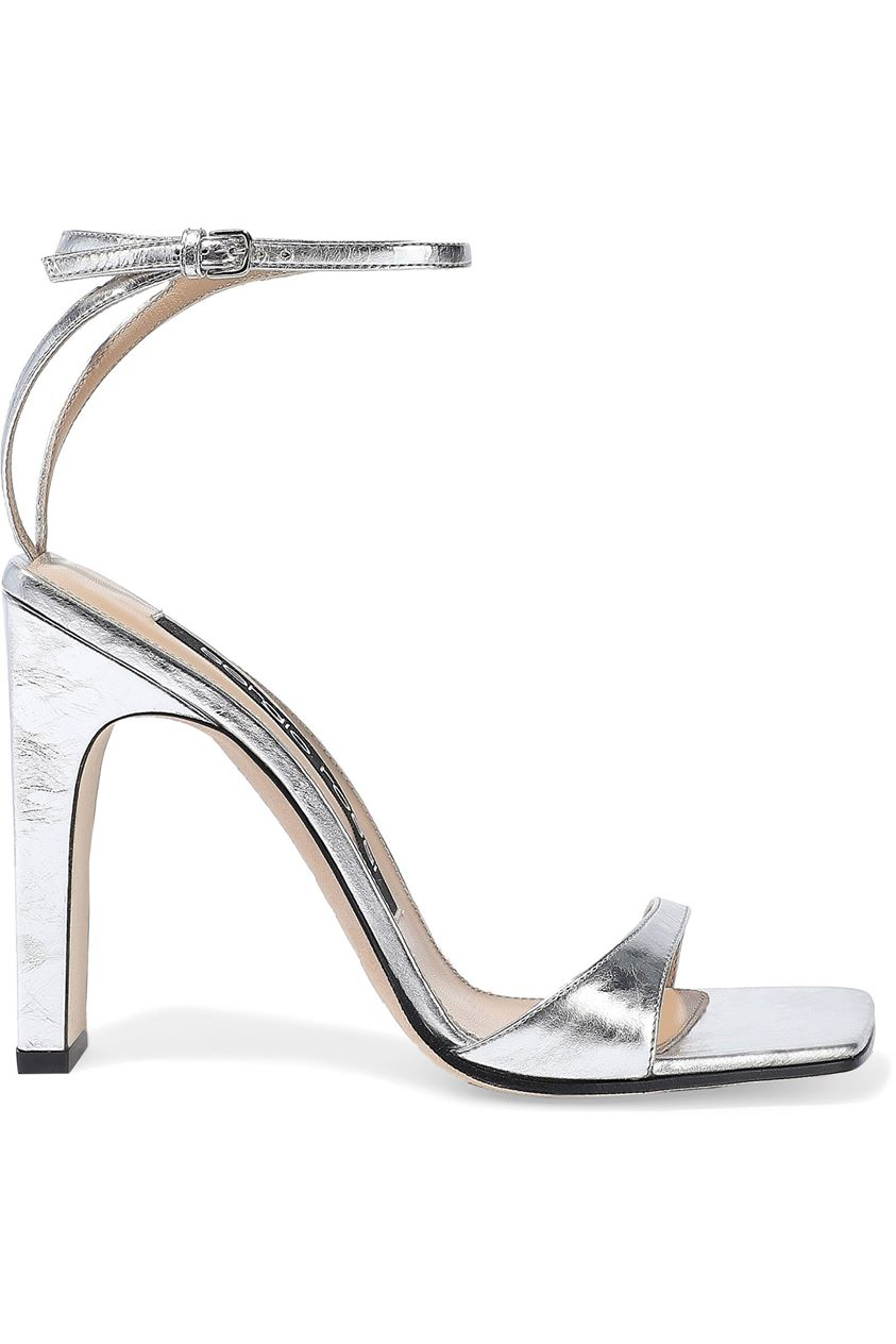 Sergio Rossi Woman Sr1 Metallic Crinkled-leather Sandals Silver Size 39.5