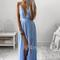 A-line v neck blue chiffon long prom dress, evening dress - 24prom