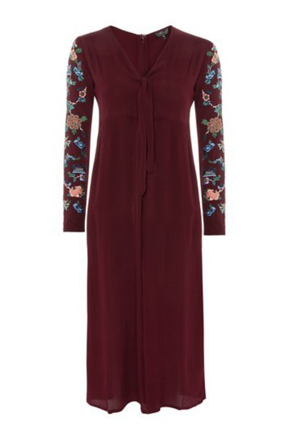 Topshop jumpsuit embroidered oxblood