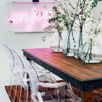 home accessory neon light pink chair table vase home decor wall decor home furniture