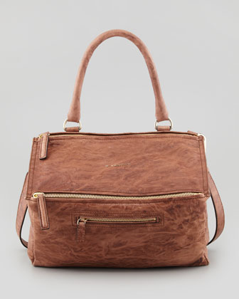Givenchy Pandora Medium Old Pepe Satchel Bag, Light Brown