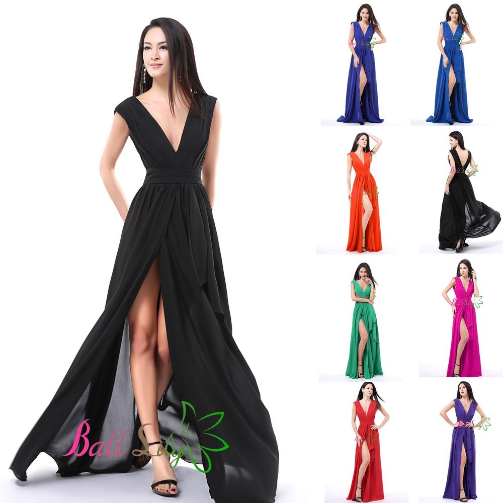 New Chiffon Sexy V Neck Long Formal Evening Dresses Slit Prom Ball Party Gown | eBay
