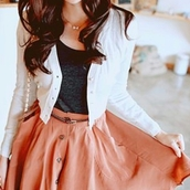 skirt,mini skirt,coral,buttons,jacket,white jacket,skater skirt,coral skirt,blouse,cute belt,peach skirt,white sweater,long sleeves,cardigan,shirt,white,button up,grey,button up skirt,dress,korean fashion,ulzzang,coat,girly,cute