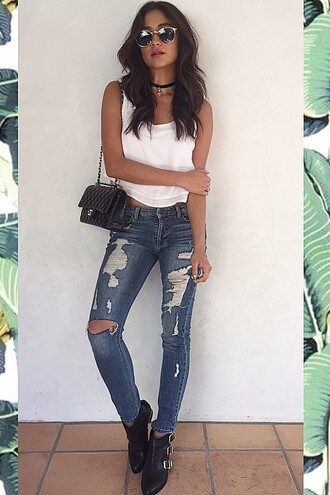 jeans denim ripped jeans shay mitchell top crop crop tops necklace purse jewels
