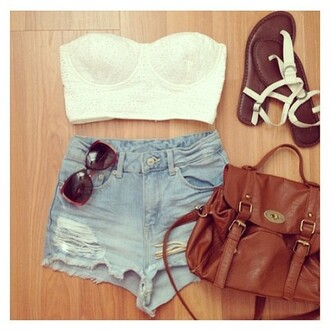 tank top bag short sunglasses shoes shorts denim shorts