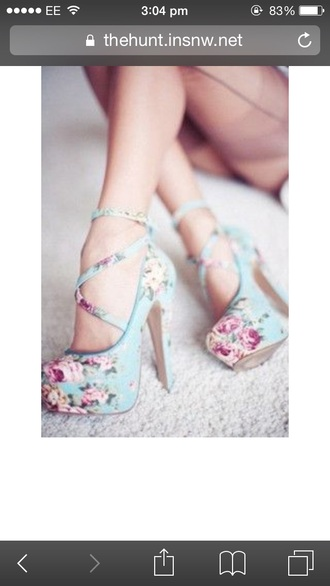shoes high heels baby blue blue shoes floral shoes