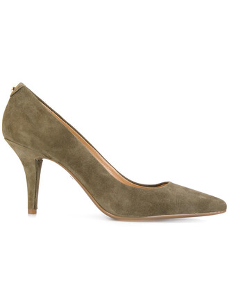 pointed toe pumps women pumps leather suede green shoes
