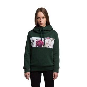 sweater hoodie green hoodie green hooded sweater printed hoodie flowers floral style