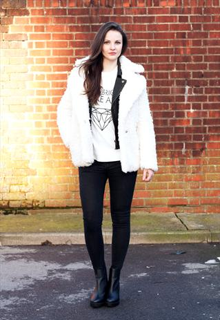 White Teddy Fur Fluffy Coat | LittleByLittle | ASOS Marketplace