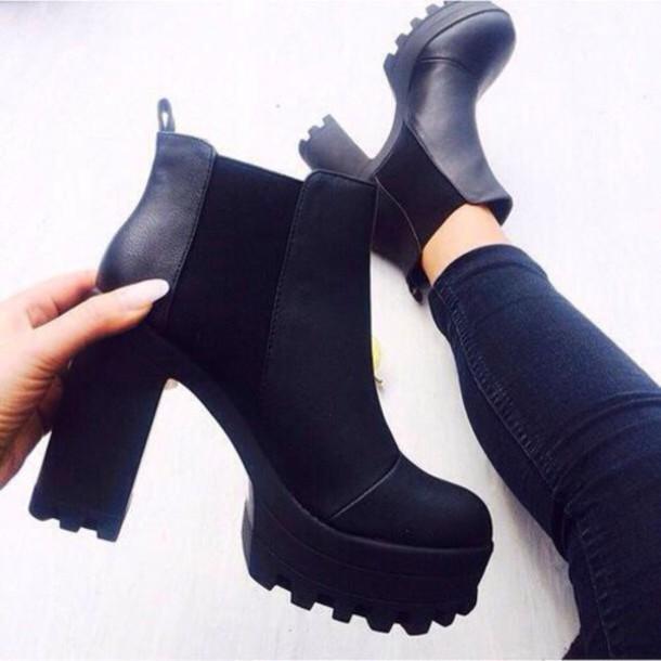 Shoes Black Heels Boots Black Heels Aesthetic Grunge