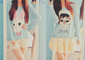 shirt bunny hat cats hat kittycat kawaii ulzzang bear hat glasses cute outfits bunny pastel