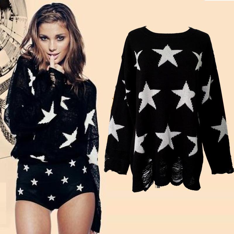 [grhmf260002082] Fashion Loose Fitting Star Print Knit Sweat