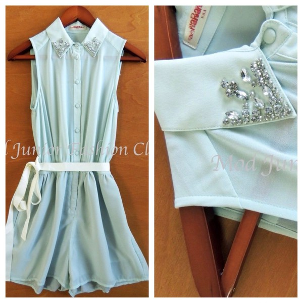 romper collar peter pan collar pointy collar studded dress jeweled dress embellished dress mint romper summer outfits trendy trendy look