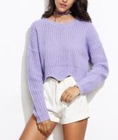 sweater,purple,knitwear,knitted sweater,cropped sweater,crop