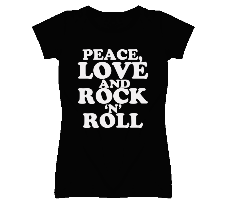 Peace Love And Rock N Roll Graphic Tee Shirt