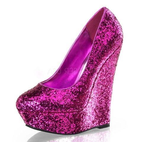 luster 20 pink glitter wedge shoes pinchmeclothing