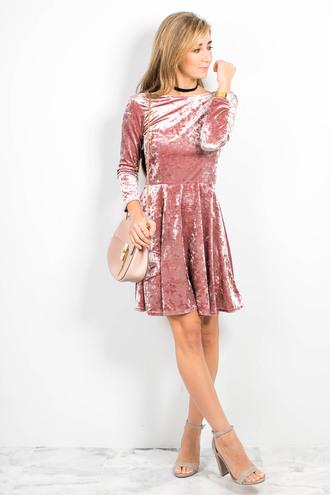 the darling detail - austin fashion blog blogger shoes bag velvet dress dress pink dress pink bag high heel sandals