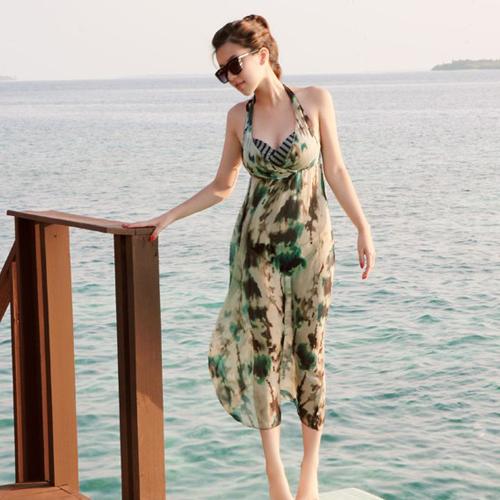 E0941 Hot sale women Bikini V neck sexy backless Chiffon dress flower printed beach dress Halter | Amazing Shoes UK