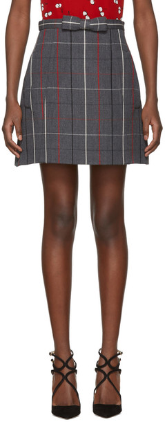 Miu Miu miniskirt bow plaid grey skirt