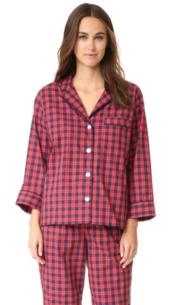 Sleepy Jones Washed Plaid Marina Pajama Shirt - Navy/Red