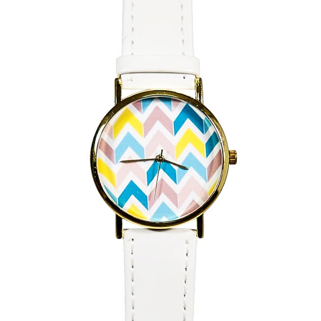 Pastel Chevron Watch, Vintage Style Leather Watch, Women Watches, Boyfriend Watch,