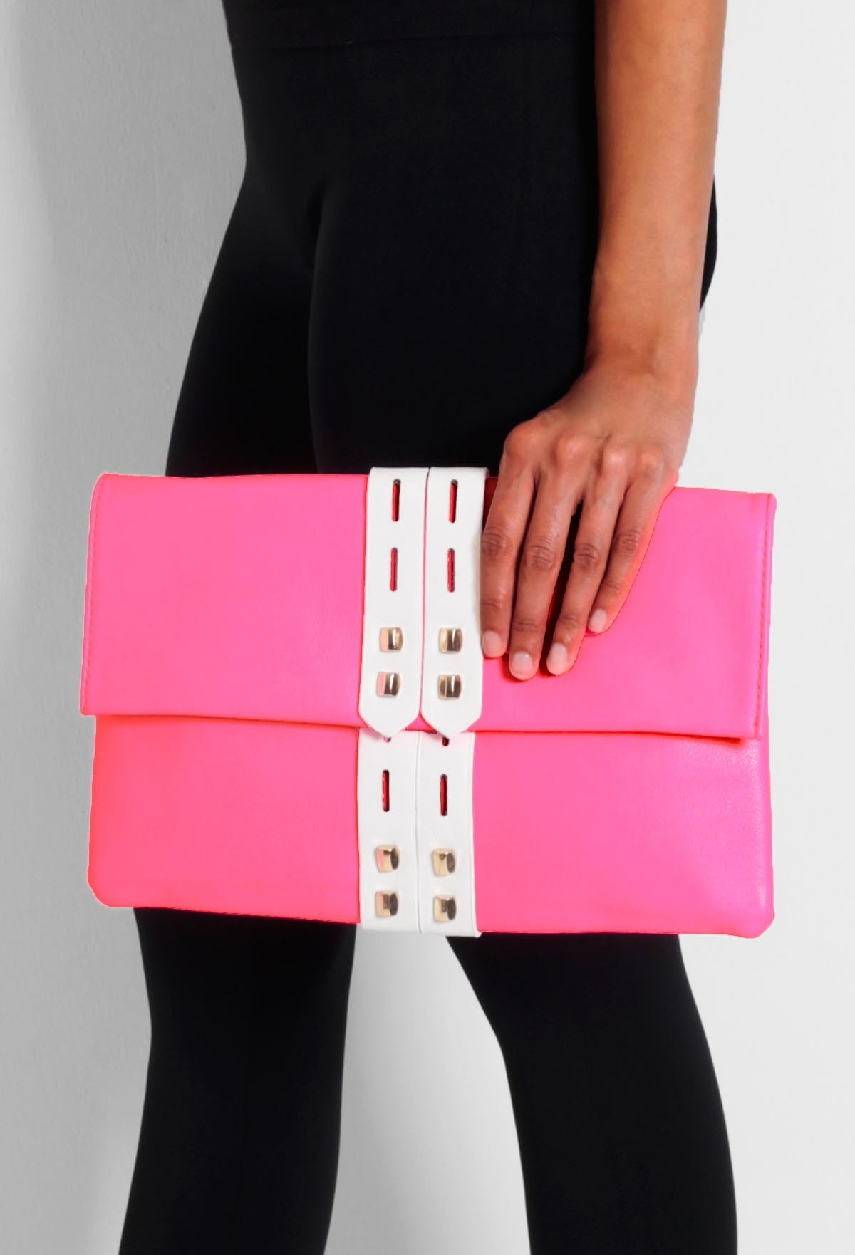 Euston Pink Neon Strap Detail Clutch Bag | Pink Boutique
