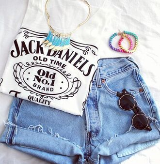 shirt jack daniel's shorts t-shirt sunglasses white jewelry light blue jewels summer outfits