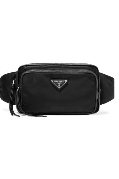 Prada - Leather-trimmed shell belt bag