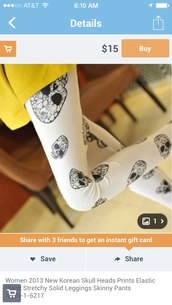 pants,white leggings,black skull heads,skull,stretchy leggings