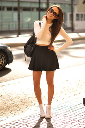 hapa time,t-shirt,skirt,shoes,sunglasses,top,black,white,bag,sweater,hot,style,classy,beige,boots,skater skirt,streetstyle,white crop tops,knitwear,black skirt,shorts,shirt,white long sleeved top,clothes,summer,crop tops,black and white,outfit,fashion,girl,cute,swag