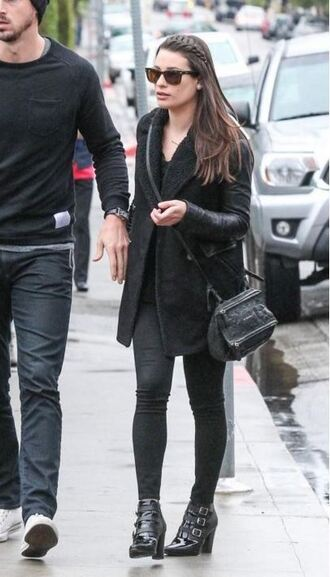coat fall outfits lea michele all black everything ankle boots jeans shoes bag