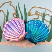 bag,cute,pink,purple,gold,mermaid,the little mermaid,bags and purses,purse,metallic,gold chain,shell,summer holidays,shiny,holographic,pink bag,blue bag,chain bag,gay pride,shoulder bag,blue