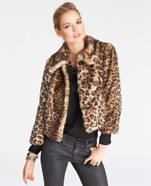 Leopard Print Faux Fur Coat | Ann Taylor