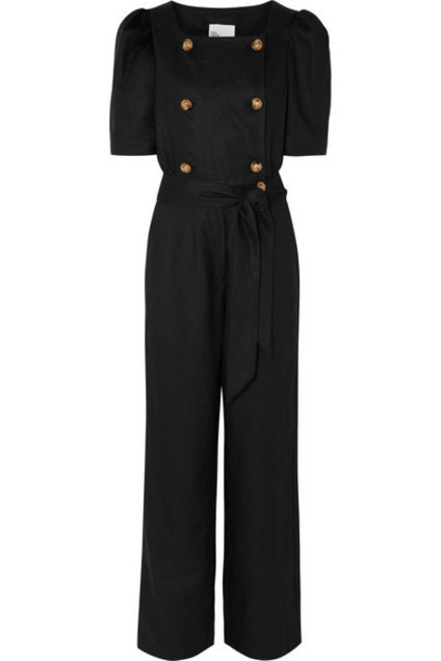 Lisa Marie Fernandez - Diana Belted Double-breasted Linen Jumpsuit - Black